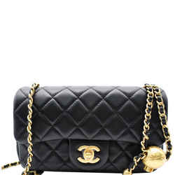 CHANEL  Pearl Crush Mini Rectangular Flap Quilted Leather Crossbody Bag Black
