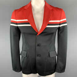 Junya Watanabe Size L Black & Red Color Block White Trim Polyester Jacket