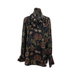 Salvatore Ferragamo Black Silk Floral Print Pussybow Shirt Size 38 IT
