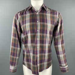 Etro Size S Purple Plaid Cotton Button Up Long Sleeve Shirt