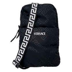 New Versace Unisex Black Nylon Shoulder Backpack Crossbody Bag