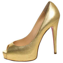 Christian Louboutin Metallic Gold Vendome Peeptoe Pumps Size 38