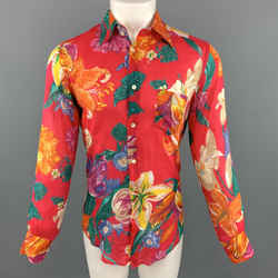 Dolce & Gabbana Size 6 Floral Fuchsia Cotton Button Up Long Sleeve Shirt