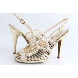 Roberto Cavalli Strappy Caged Leather Pump Sandals Sz US-9 Authenticity Guaranteed