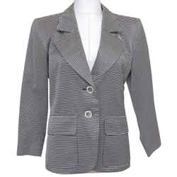 YVES SAINT LAURENT Blazer Jacket Striped Long Sleeve Single Lapel Sz 34 VINTAGE