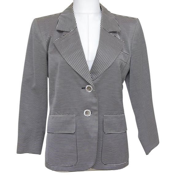 YVES SAINT LAURENT Blazer Jacket Striped Long Sleeve Single Lapel Sz 34 VINTAGE
