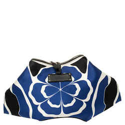 Alexander McQueen Multicolor Printed Satin and Leather Medium De Manta Clutch