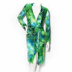 Gianni Versace Palm Print Silk Jersey Dress SS2000