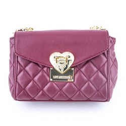 Love Moschino Quilted Shoulder Bag Dark Red Size 9.5 Authenticity Guaranteed