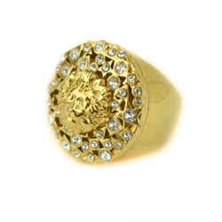 "VERSACE ""Versus"": Gold, Metal Lions Head & Swarovski Crystals Ring Sz: 8.25 (mn)"