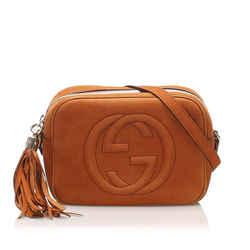 Vintage Authentic Gucci Orange Nubuck Leather Leather Soho Crossbody Bag Italy