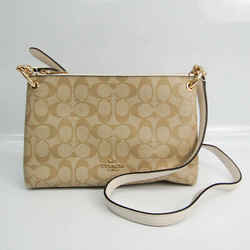Coach Signature Mia 76646 Women's Coated Canvas,Leather Shoulder Bag Be BF522884
