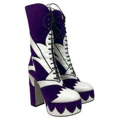 Miu Miu Purple White Suede Leather Lace-Up Platform Boots Shoes