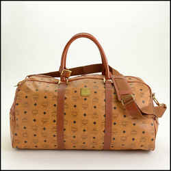 Rdc11268 Authentic Mcm Cognac Brown Visetos Boston Weekend Bag