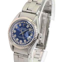 Rolex Womens Datejust 26mm Blue Diamond Dial Fluted Bezel Oyster Band
