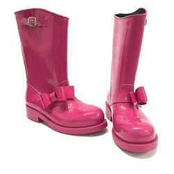 Valentino Red V Bow Pink Rain Boots Galoshes Size 39/9