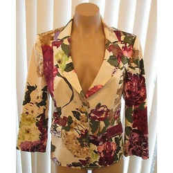 Red Valentino Lightweight Multi-color Cotton Floral Jacket - Size 44