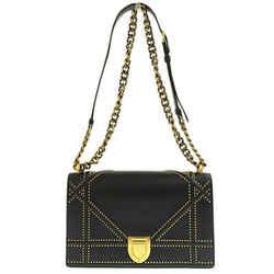 Auth Christian Dior Dior Diorama Leather Studs Chain Shoulder Bag Black
