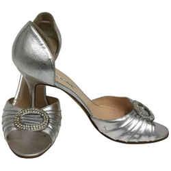 Manolo Blahnik Silver Sedaraby Crystal D'orsay Peep Toe Pumps Size: EU 39.5 (Approx. US 9.5) Regular (M, B) Item #: 24974873