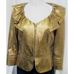 St John Couture 04 02 Small Jacket Metallic Gold Snake Embossed Leather Ruffle