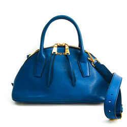 Miu Miu MADRAS RL0091 Women's Leather Handbag,Shoulder Bag Blue BF518354