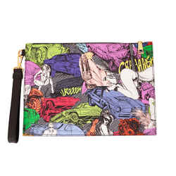 NEW $695 VERSACE Pop Art COMIC CRASH PRINT Saffiano Leather WRISTLET CLUTCH BAG
