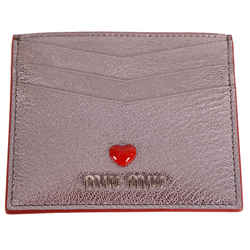 NEW $280 MIU MIU Metallic Silver Leather MADRAS LOVE HEART Wallet CARD CASE NIB