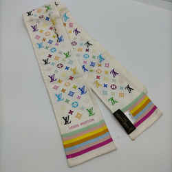 Louis Vuitton Game On White Monogram Multicolor Bandeau Silk Twilly Scarf 861654