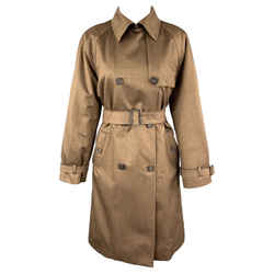 Wool Blend Suede Trim Double Breasted Trenchcoat