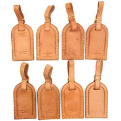 LOUIS VUITTON Leather Luggage Name ID Tag 8P Set France-123