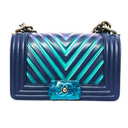 BRAND NEW CHANEL NAVY BOY BAG GORGEOUS IRIDESCENT COLORS RARE