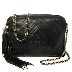 Chanel Navy Blue Diamond Quilted Leather Vintagee CC Camera Tassel Bag