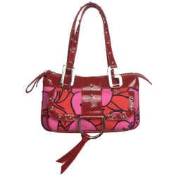 Dolce&Gabbana Fabric Pink & Red Patent Leather Baguette