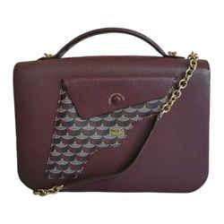 Faure Le Page Red Ivress Ecailles Canvas Burgundy Leather Calibre27 Bag