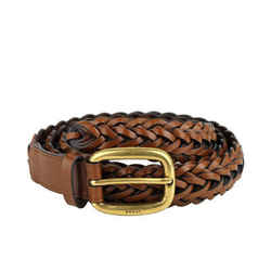 Gucci Men's Brown Braided Leather Belt With Gold Buckle 380606 2535 (80 / 32)