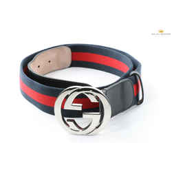 Gucci Men's Double G Buckle Blue/Red Web Belt