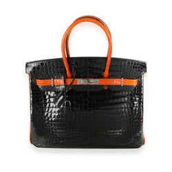 Hermes Limited Edition Black & Orange Shiny Porosus Crocodile Birkin 35 PHW