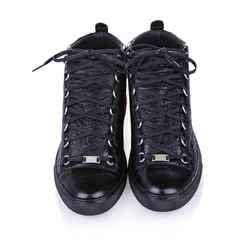 Black Balenciaga Classic Arena High Top Leather Sneaker