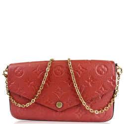 Louis Vuitton Pochette Felicie Monogram Empreinte Chain Wallet Red