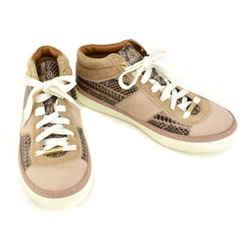 Jimmy Choo: Beige/blush, Leather & Calf-hair Logo Sneakers/athletic Shoes Sz: 7m