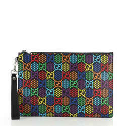 Wristlet Zip Pouch Psychedelic Print GG Coated Canvas Medium