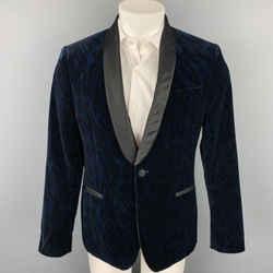 VERSACE COLLECTION Size 38 Navy & Black Animal Print Velvet Shaw Lapel Sport Coat