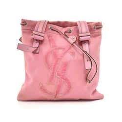 Saint Laurent Kahala Pink Canvas & Velvet YSL Logo Tote Bag