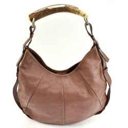 "SAINT LAURENT (YSL) ""Mombasa"": Brown, Leather & Horn, Shoulder/Hobo Bag (mo)"