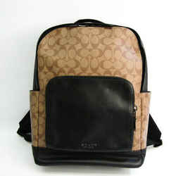 Coach Signature Graham F38755 Men's Coated Canvas,Leather Backpack Beig BF526637