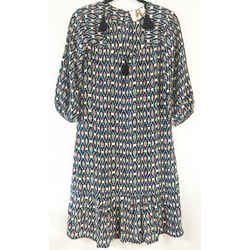 Figue Navy Multi Color Tunic With Black Tassles Short Casual Dress Size: 00 (xxs) Length: Mid-length