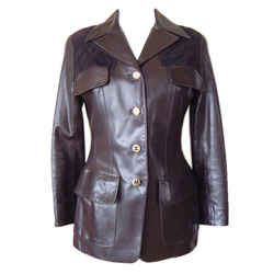 Chanel Jacket Leather With Suede Lots Cc Buttons Rear Button Vent Vintage 40 / 6