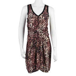 Etoile Isabel Marant Leopard Print Silk Sleeveless Cocktail Dress Size: 4 (S) Length: Mid-Length