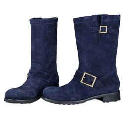 Jimmy Choo Youth Flat Biker Boots Black/navy Size 8.5 Authenticity Guaranteed