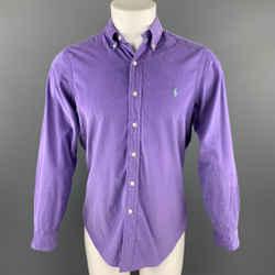RALPH LAUREN Size S Purple Corduroy Button Down Long Sleeve Shirt